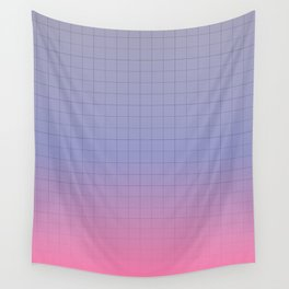 Pink and Purple Pastel Grid Aesthetic Fade Wall Tapestry