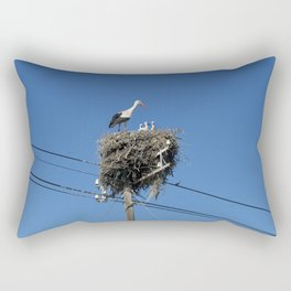 A stork family on a telegraph pole Rectangular Pillow