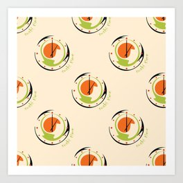 seamless pattern with abstract sushi clock for kitchen Art Print