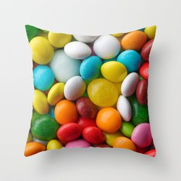 Multicolored round candies Throw Pillow