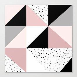 Geometrical pink black gray watercolor polka dots color block Canvas Print