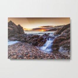 Ocean cascade at Rotherslade Bay Metal Print