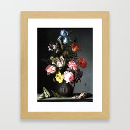 Flowers In A Vase With Shells And Insects Framed Art Print