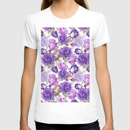 Violet lilac pink watercolor botanical roses floral T-shirt