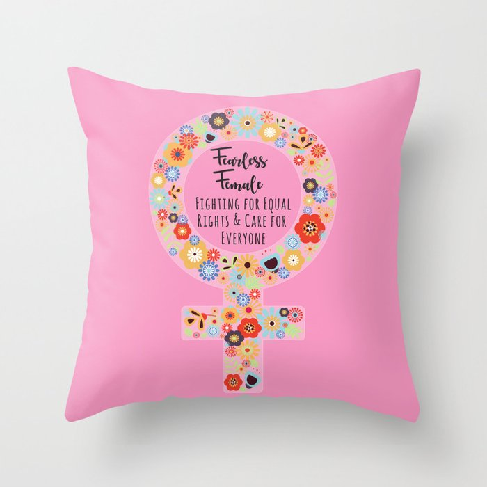 Fearless Female Pink Throw Pillow