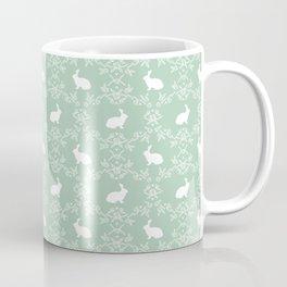 Rabbit pet silhouette floral rabbits bunny gifts cute minimal pets mint Coffee Mug