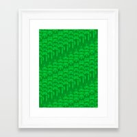 video game Framed Art Prints featuring Video Game Controllers - Green by C.Rhodes Design
