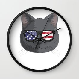 Patriotic British Shorthair Cat Kitty Merica American Flag Wall Clock