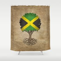 jamaica Shower Curtains featuring Vintage Tree of Life with Flag of Jamaica by Jeff Bartels