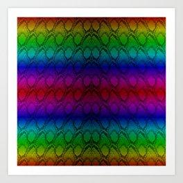 Bright Metallic Rainbow Python Snake Skin Art Print