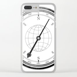 Textured Compass on White Clear iPhone Case