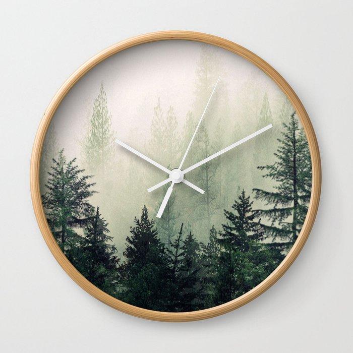 Foggy Pine Trees Wall Clock