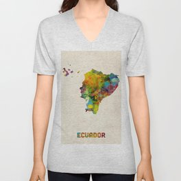 Ecuador Watercolor Map Unisex V-Neck