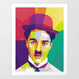 Charlie Chaplin Pop Art WPAP Art Print
