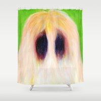 sasquatch Shower Curtains featuring Easter Sasquatch by Masha MouseBones Vereshchenko