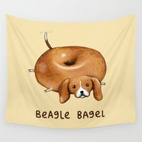 baking Wall Tapestries featuring Beagle Bagel by Sophie Corrigan
