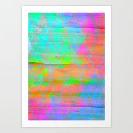 Neon colored abstract geometric triangle design Art Print