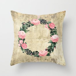 Wreath #Rose Flowers #Royal collection Throw Pillow