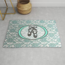 Ballet Lace Collection in Mint and Silver Design Rug