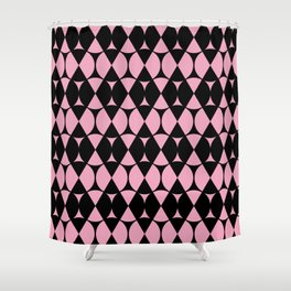 Classic Wheel and Diamond Futurist Pattern 215 Black and Pink Shower Curtain