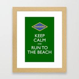 KEEP CALM AND RUN TO THE BEACH. Framed Art Print