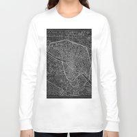 paris map Long Sleeve T-shirts featuring Paris map by Le petit Archiviste