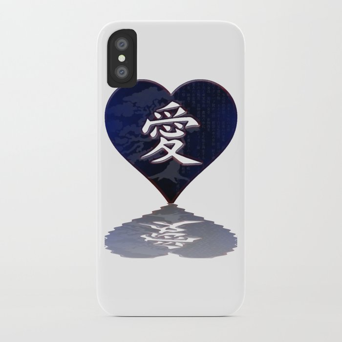 Japanese Kanji Love Symbol Reflecting Heart Iphone Case By