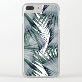 Tropical Leaves Green Clear iPhone Case