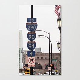 Sign posts Interstate - Chicago Canvas Print