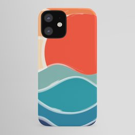 Retro 70s and 80s Color Palette Mid-Century Minimalist Nature Waves and Sun Abstract Art iPhone Case