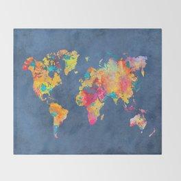 world map blue 2061 #map #worldmap Throw Blanket