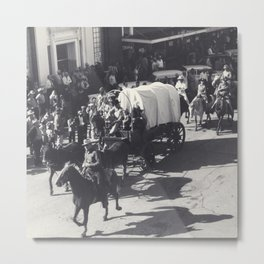 Vintage Houston Rodeo Parade Cowboys and Wagons Metal Print
