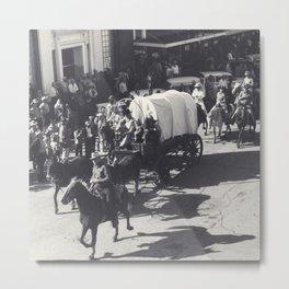 Vintage Houston Rodeo Parade Cowboys and Wagons Metal Print