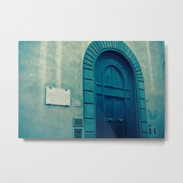Church Door in Blue Metal Print