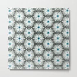 White Aqua Daisies Metal Print