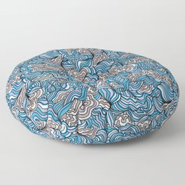Gray Day with Blue Feelings Floor Pillow