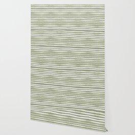 Simply Shibori Stripes Green Tea and Lunar Gray Wallpaper