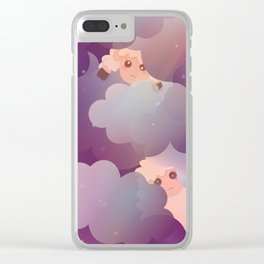 Heavenly Baby Sheep II - Wine Purple / Plum Color, Star Night Sky Background Clear iPhone Case