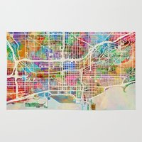 chicago map Area & Throw Rugs featuring Chicago City Street Map by artPause