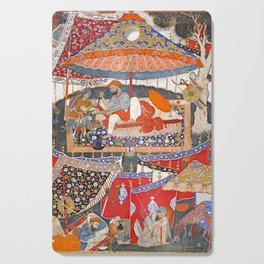 16th Century India Watercolor Painting Cutting Board