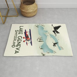 lake geneva, Switzerland, travel poster print art. Rug