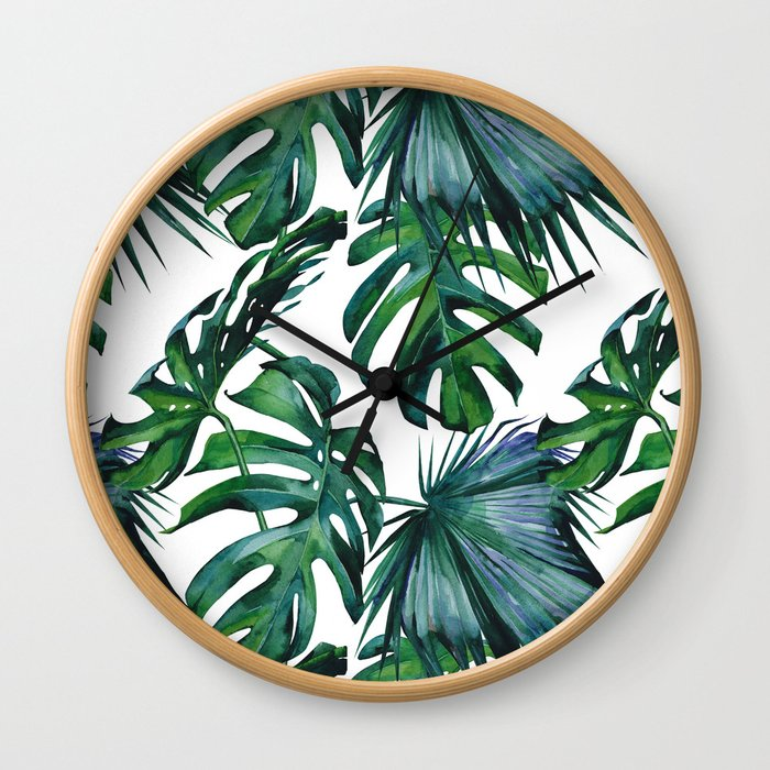 Tropical Palm Leaves Classic Wall Clock