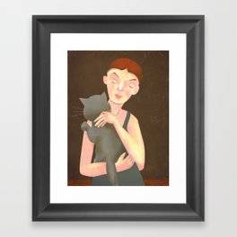 Girl with Cat Framed Art Print
