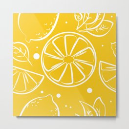 Lemonade Summer Art Pattern Print Metal Print