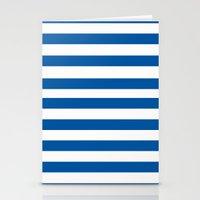 preppy Stationery Cards featuring Preppy Navy & White Stripe by Sweet Karalina
