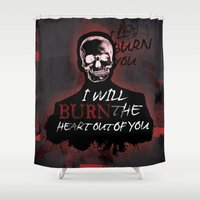 moriarty Shower Curtains featuring Burn The Heart Out Of You by KitsuneDesigns