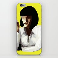 mia wallace iPhone & iPod Skins featuring Mia Wallace by Clotilde Petit