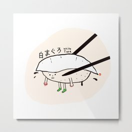 White Tuna Sushi Metal Print