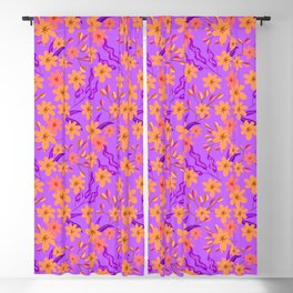 Beautiful girly summer orange flowers, delicate leaves floral fabric purple feminine pattern. Blackout Curtain