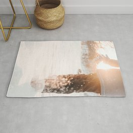 Atmospheric Backlight Winter Photo | Winter Photography | Golden Hour In Snow Rug